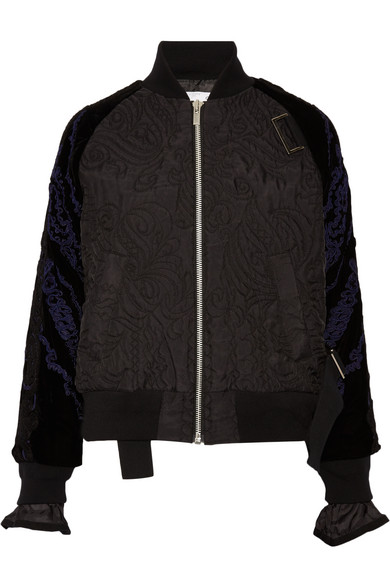 Sacai - Quilted Shell And Appliquéd Velvet Bomber Jacket - Black