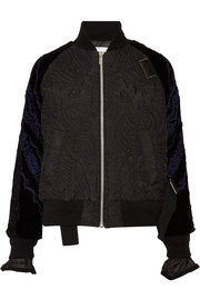 Quilted shell and appliquéd velvet bomber jacket