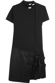 Asymmetric pleated cotton-jersey and twill mini dress