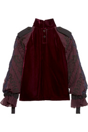Sacai Velvet and embroidered chiffon top