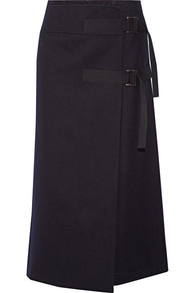 Sacai - Melton Wool Wrap Skirt - Navy