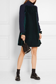 Wool-paneled velvet dress