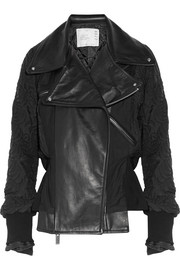 Leather-paneled quilted shell jacket