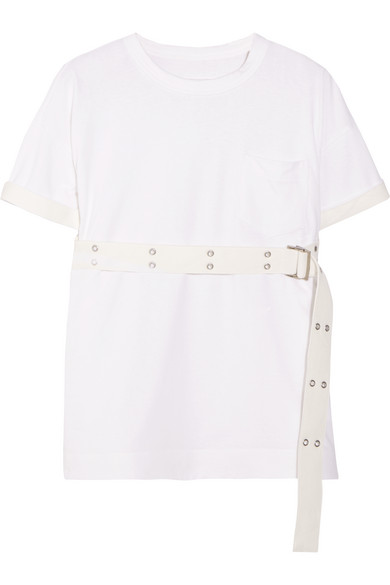 Sacai - Belted Cotton-jersey T-shirt - White