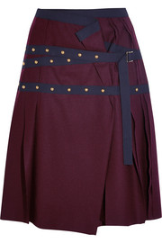 Pleated stud-embellished wool mini skirt