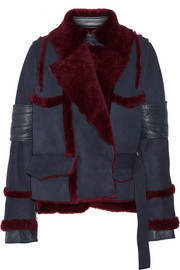 Paneled shearling jacket