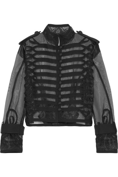 Sacai - Cropped Lace And Canvas-trimmed Organza Jacket - Black