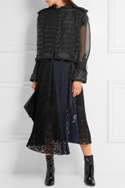 Cropped lace and canvas-trimmed organza jacket