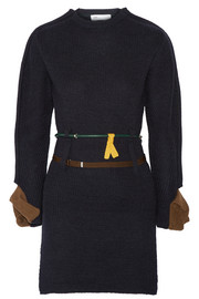 Toga Belted leather-trimmed ribbed wool sweater