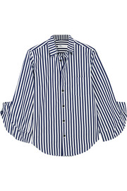 London ruffled striped cotton-poplin shirt