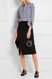 Tulle-trimmed twill midi skirt