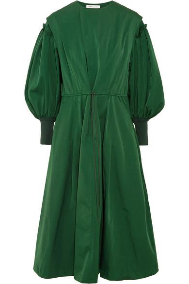 Toga - Ruffled Taffeta Midi Dress - Forest green