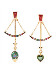 Bow 18-karat gold multi-stone earrings