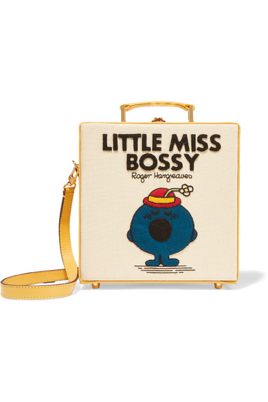 Olympia Le-Tan - Little Miss Bossy Appliquéd Cotton-faille Shoulder Bag - Cream
