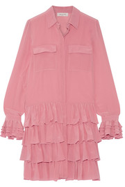 Paul & Joe Ealienor ruffled silk crepe de chine mini dress