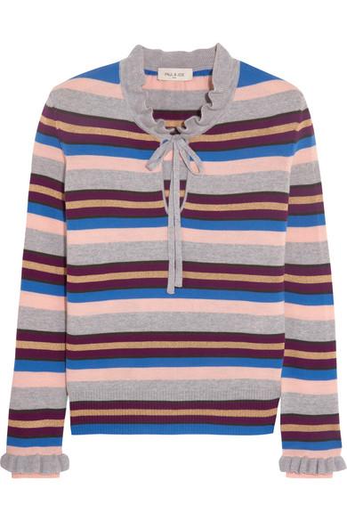Paul & Joe - Elinda Ruffled Striped Wool-blend Sweater - Gray