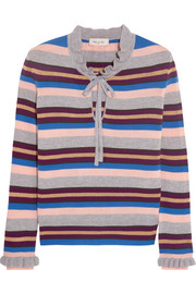 Paul & Joe Elinda ruffled striped wool-blend sweater
