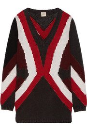 Merino wool and cashmere-blend intarsia sweater