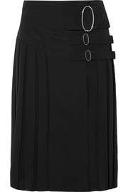 Wrap-effect pleated crepe de chine skirt