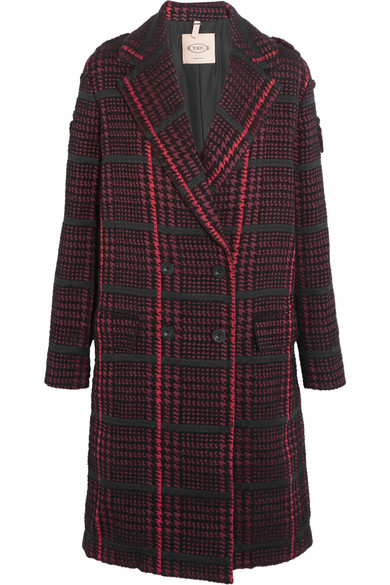 Tod's - Houndstooth Bouclé Coat - Red