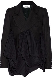 Pleated pinstriped wool blazer