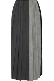 Pleated paneled wool midi skirt