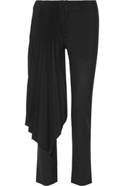 Layered pleated wool straight-leg pants