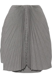 Pleated gingham wool skirt