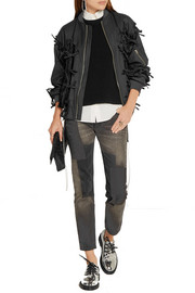 Bow-embellished pinstriped wool-twill bomber jacket
