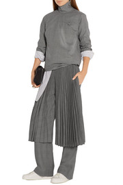 Pleated checked wool straight-leg pants