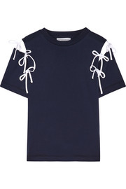 Cutout bow-embellished cotton-jersey T-shirt