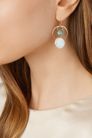 14-karat gold, turquoise and pearl earrings