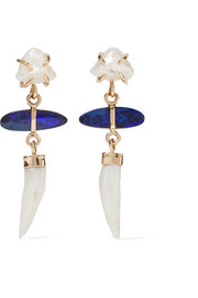 Melissa Joy Manning 14-karat gold, pearl and opal earrings