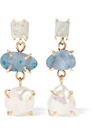 Melissa Joy Manning 14-karat gold, aqua and pearl earrings