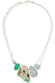Melissa Joy Manning 14-karat gold, sterling silver and multi-stone necklace