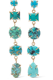 Melissa Joy Manning 14-karat gold, sterling silver and turquoise earrings