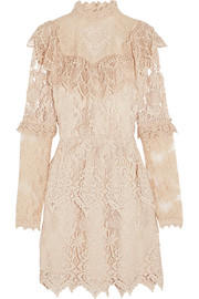 Anna Sui Romantique ruffled crocheted lace mini dress