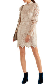 Romantique ruffled crocheted lace mini dress