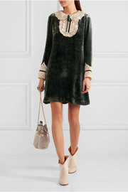 Anna Sui Crocheted lace-trimmed velvet mini dress