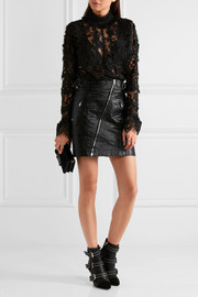 Anna Sui Magical Mystery ruffled crocheted lace and mesh blouse