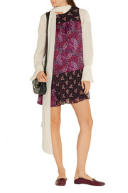 Anna Sui Printed patchwork silk-satin, chiffon and lace mini dress