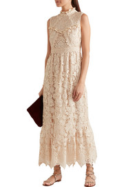 Anna Sui Romantique ruffled crocheted lace maxi dress