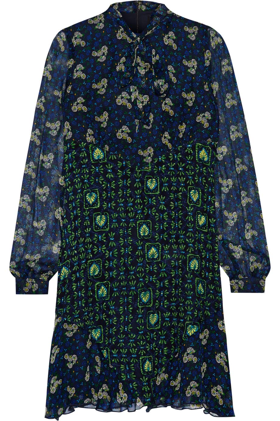 Anna Sui Pussy-Bow Printed Silk-Chiffon Mini Dress, Midnight Blue/Green, Women's - Printed, Size: 0