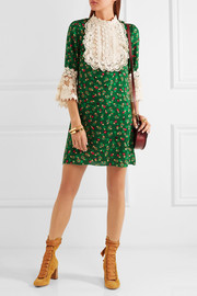 Anna Sui Lace-trimmed printed silk-cloqué mini dress