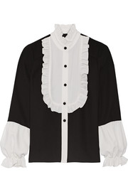 Anna Sui Two-tone ruffle-trimmed crepe blouse