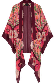Poppy Buds printed cotton and silk-blend kimono