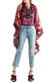 Anna Sui Poppy Buds printed cotton and silk-blend kimono