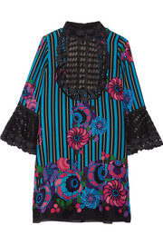 Anna Sui Lace-paneled printed silk-gauze mini dress