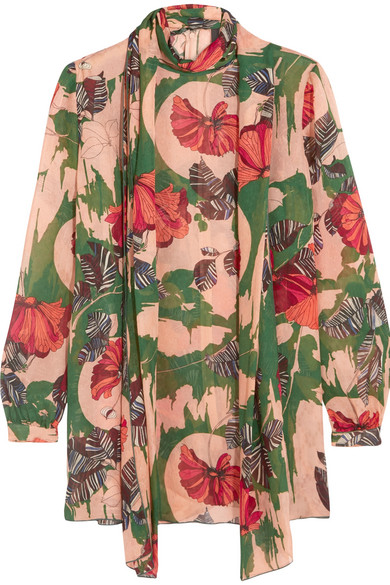 Anna Sui - Woodblock Pussy-bow Silk Blouse - Green