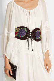 Anna Sui Embroidered velvet belt